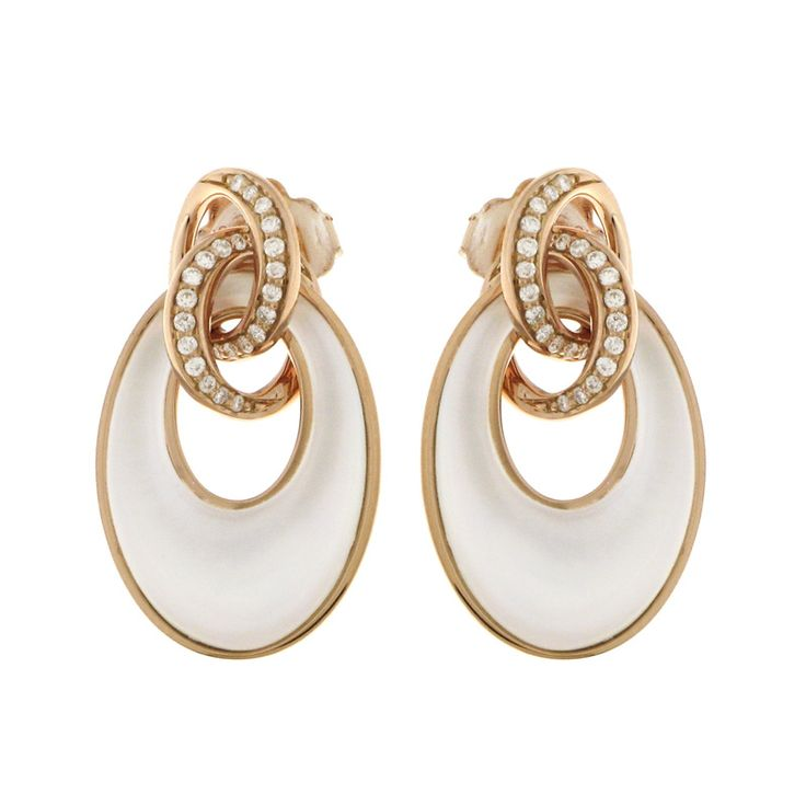 Chimento Liason 18k rose gold earrings with white mother of pearl & 0.18cts. in diamonds.