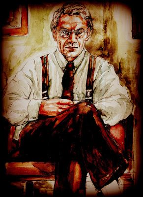 """""""Cattiva sorte"""". Avevo sentito giungere, dall'appartamento di fianco a dove abitavo, direttamente attraverso le pareti, diversi rumori forti e antipatici, come di trascinamento di mobili sui pavimenti, e la cosa mi aveva disturbato parecchio, in considerazione soprattutto dell'interruzione che ne era immediatamente derivata delle mie ordinarie meditazioni.... (di Bruno Magnolfi - Acquerello di Giulia Tesoro)."""