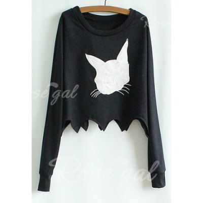 Long Sleeves Scoop Neck Cotton Blend Casual Style Kitten Embroidery Women's Bikini T-Shirt