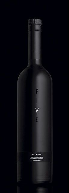 *graphic design, packaging, advertisement, black* - Super minimal design for Five Vodka. Nice.
