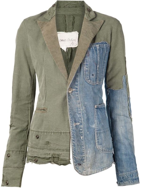 Military green and blue linen, cotton and silk distressed patchwork denim blazer from Greg Lauren. £1,524.19 by farfetch