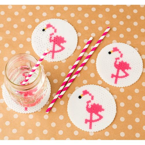 Create some tropical fun when you make these flamingo coasters with glitter beads from Perler! Make a set for a gift or summer picnic.
