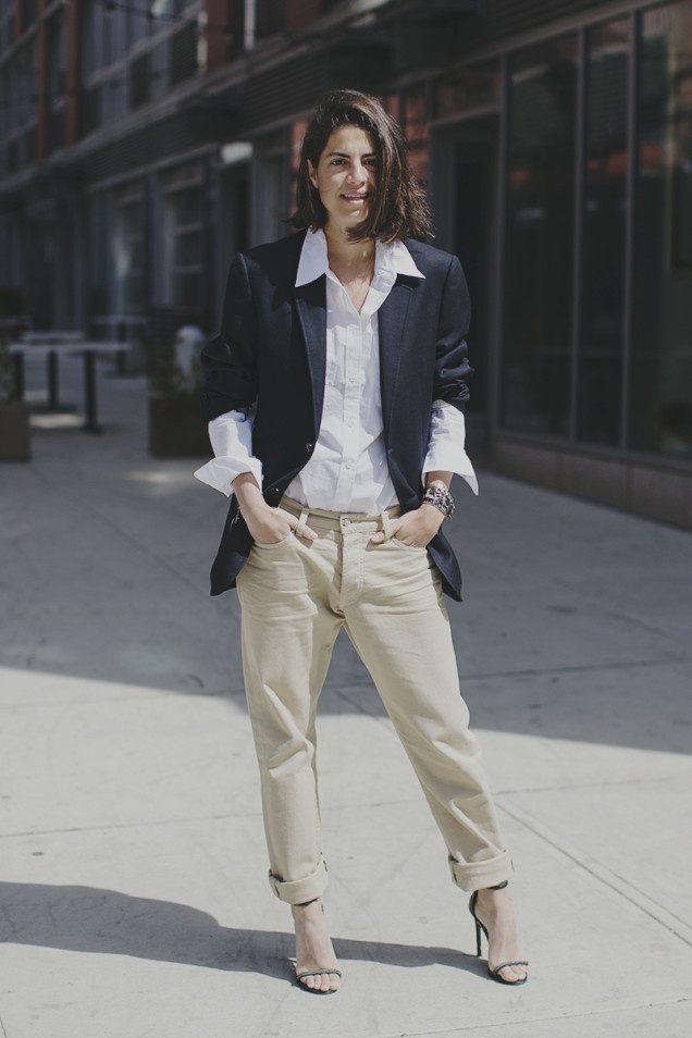 In His Clothes   Man Repeller - the rolled up men's jacket looks great.