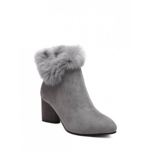 Zip Pointed Toe Faux Fur Ankle Boots ($23) ❤ liked on Polyvore featuring shoes, boots, ankle booties, gray bootie, pointed-toe ankle boots, bootie boots, pointy-toe ankle boots and zipper ankle boots