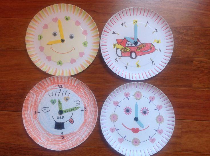 Hodiny z papírových talířů:-)