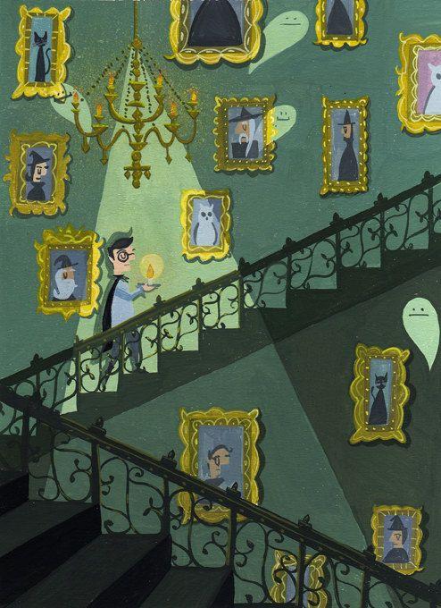 La escalera  8 x 10 archivo Harry Potter impresión digital de una pintura original de Aguada.  Firmado  Embarca con funda protectora.