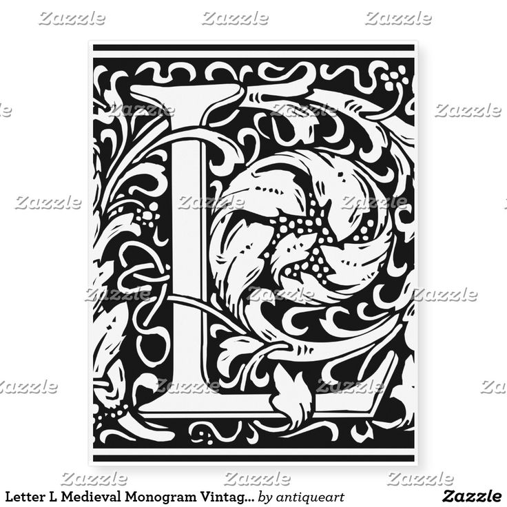 Letter L Medieval Monogram Vintage Initial Temporary Tattoos Zazzle Com In 2021 Illuminated Letters William Morris Decorative Letters