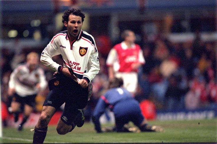 Ryan Giggs peels away after scoring one of the best goals ever seen in @manutd's FA Cup semi-final victory over Arsenal at Villa Park.