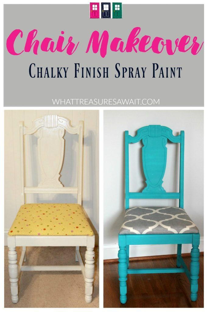 This chair makeover was so easy with chalky finish spray paint!