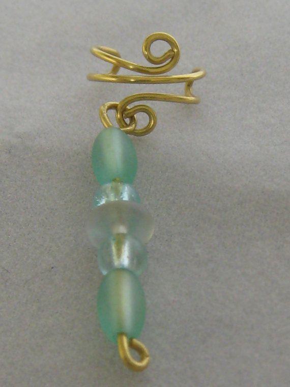 Brass Ear Cuff with Beaded Dangle  right ear.  by ZaZing on Etsy, $20.00