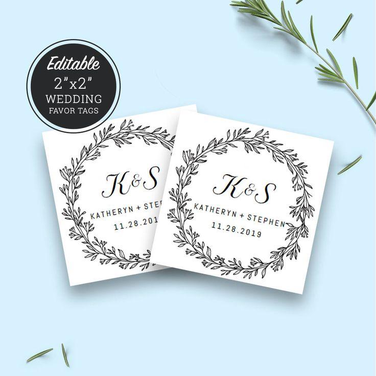 Rustic Wedding Favor Tags Template Download, Printable Favor Tags, DIY Wedding Monogram Labels, Editable PDF Tags Template Instant Download. by PATPOSEH on Etsy