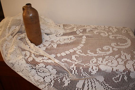 SALE Large white oval tablecloth table linen curtain di AntikDepot