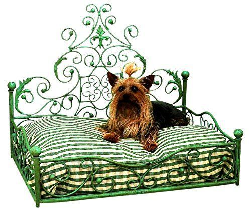 French Iron GREEN SCROLL Dog Pet Cat Bed Victorian Antique Fleur de Lis Euro -- To view further for this item, visit the image link.