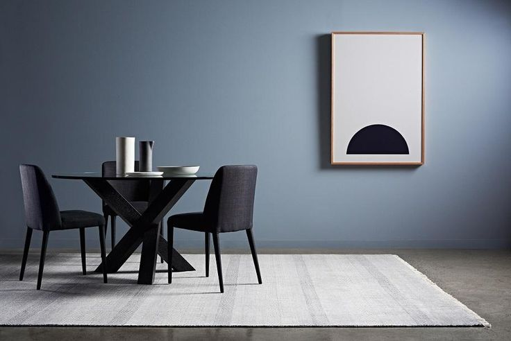 """Hudson Round Dining Table, Rosie Chairs, Paint: Chapel Grey from Haymes, Rug: Terace Floors, Art: """"Half Moon"""" The Artwork Stylist, Vases and Bowls: Neutral Instinct #globewest #dining #furniture #contemporary #style"""