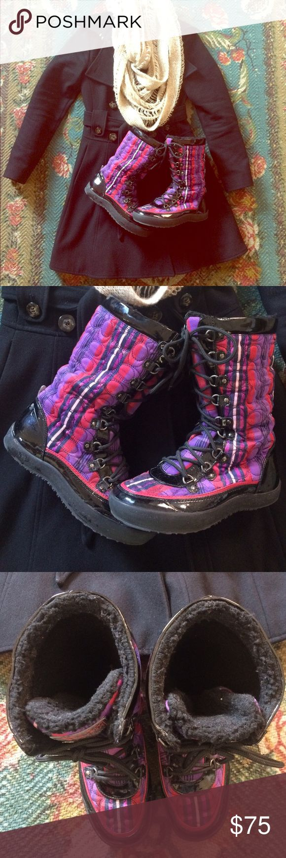 ❄️ sale! COACH tartan plaid winter boots Calling all bargain hunters! Authentic Coach tartan plaid berry purple winter boots with glittery lurex threading. Fleece lining and waterproof. Worn during a trip to Poland in December. VERY comfortable and warm :) Pretty sure size 7 but may be 7.5. Some signs of wear in fleece and a few scuff marks in leather. 🌸bundle 3; save 20%!!🌸 Coach Shoes Winter & Rain Boots