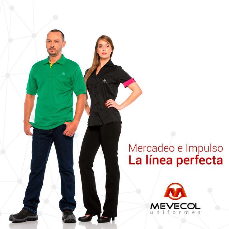 Refuerza el posicionamiento de tu marca con uniformes especialmente diseñados para tus colaboradores  Ingresa a www.mevecol.com y en nuestra pestaña de LÍNEAS encuentra Mercadeo e Impulso con el resto de nuestro portafolio.  En Mevecol encuentra #ElUniformePerfecto