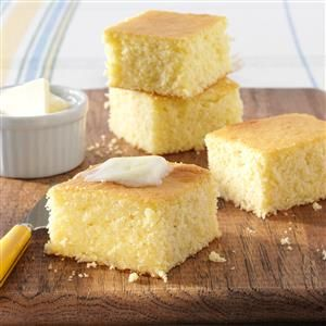 Buttery Corn Bread Recipe -A friend gave me this recipe several years ago, and it's my favorite. I love to serve the melt-in-your mouth corn bread hot from the oven with butter and syrup. It gets rave reviews on holidays and at potluck dinners. —Nicole Callen, Auburn, California