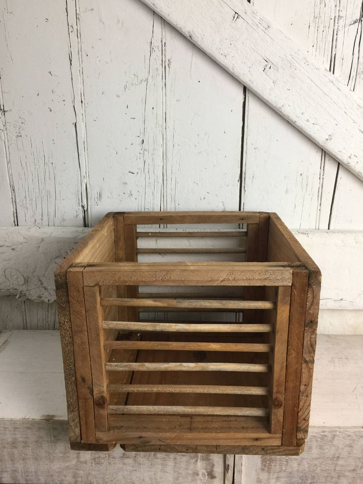 Primitive Wood Box Small Crate rustic vintage wooden box with dowel rods by LititzCarriageHouse on Etsy