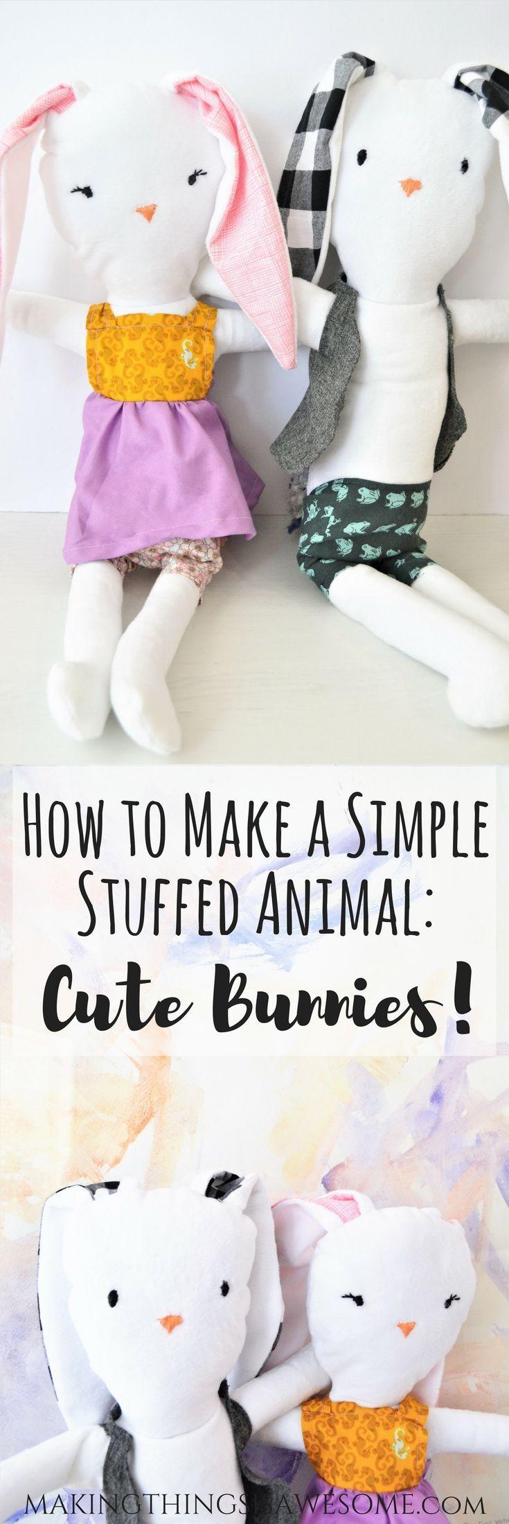 Wie man ein einfaches Kuscheltier macht: Süße Hasen