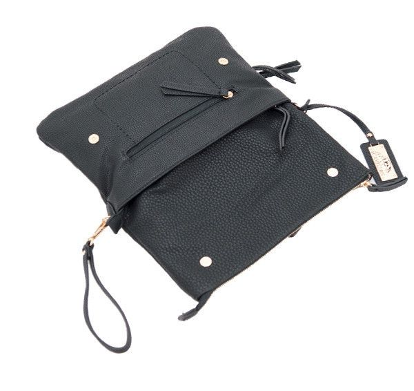 This faux leather concealed-carry handbag can be used as either a clutch or crossbody!