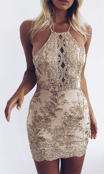 Feeling This Gold Spaghetti Strap Lace Embroidery Cut Out Backless Bodycon Mini Dress