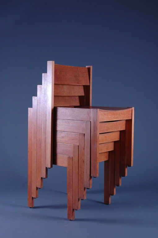 Carl Auböck; Oak Stacking Chairs for Meidlinger Pollack, 1960.