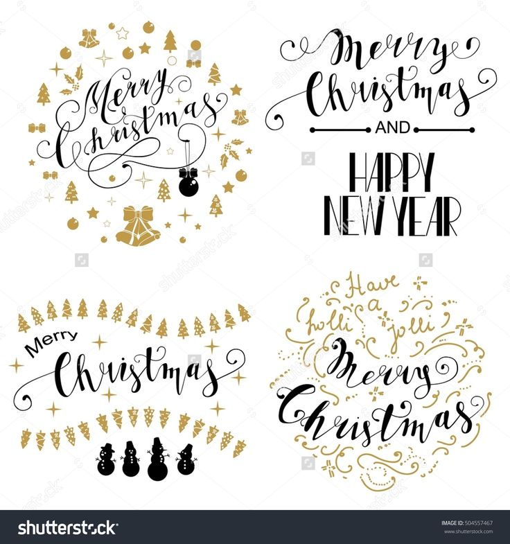 Merry Christmas Lettering Design Set. The inscription Merry Christmas frame of Christmas symbols. Vector illustration EPS10