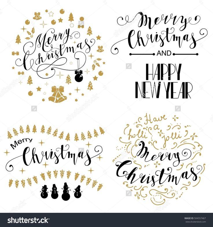 Merry Christmas Lettering Design Set. The inscription Merry Christmas frame of Christmas symbols. Vector illustration EPS10