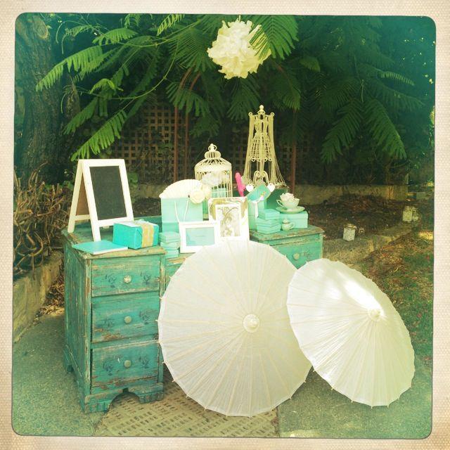 Breakfast @ Tiffany's Themed Hen's Party - Entrance Table - Teal / Umbrellas / Diamonds / Tiffany Bags / Audrey Prints