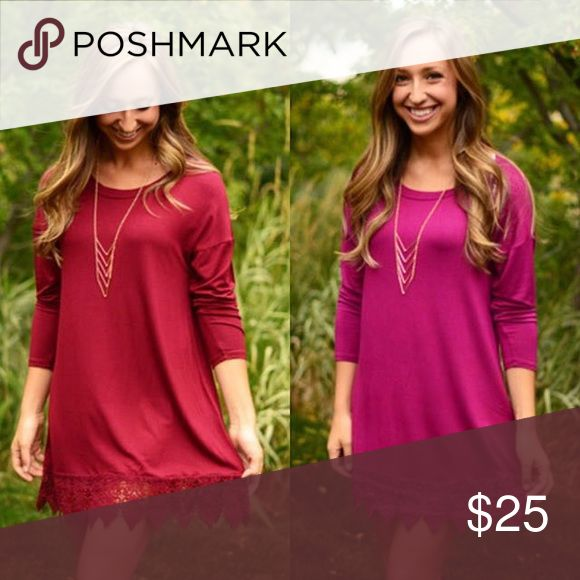 Purple boutique fall tunic I have the one on the right in purple! Worn once it's a purplish pink color. Second picture is so you can see the full dress Tops Tunics