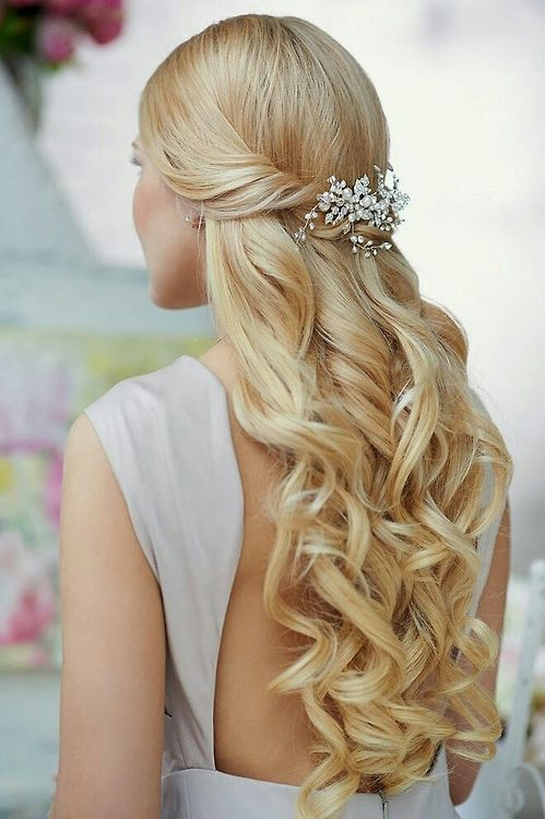 Gorgeous romantic curls long hairstyle half up long wedding hair