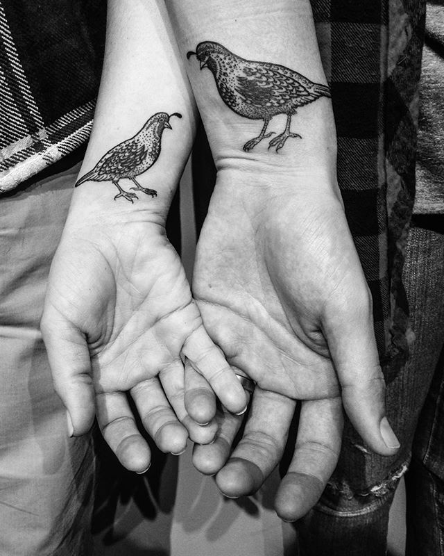 Quail lovebirds. Briana Sargent | Buju Tattoo