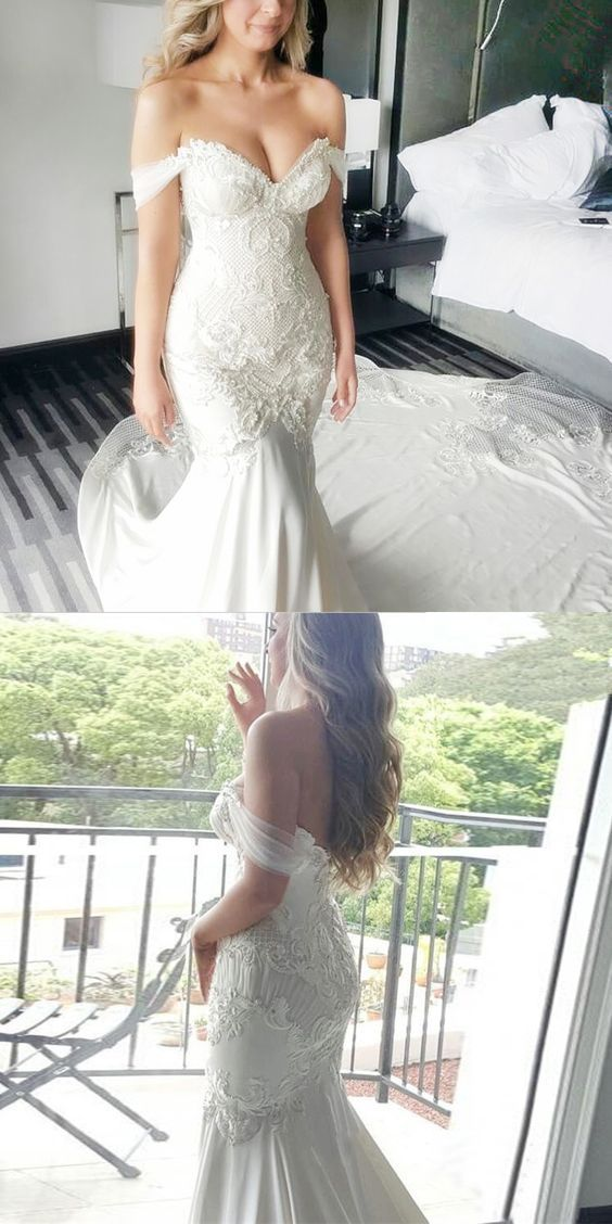 Mermaid Wedding Dresses,Off-the-Shoulder Wedding Dresses,White Wedding Dresses,Lace Wedding