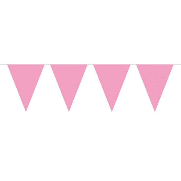 10 meter lang lyserød vimpel guirlande til din pige barnedåb og baby shower fest.