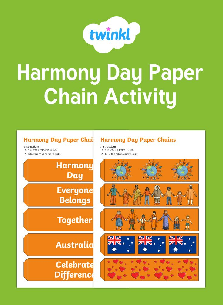 This is a nice activity for your children to complete as part of your Harmony Day celebrations. It highlights the idea of coming together and working as a team. Also, a wonderful addition to your classroom!