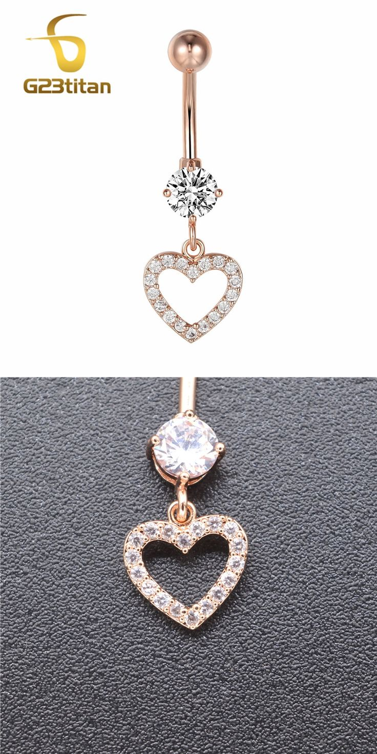 G23titan Rose Gold Color Heart Belly Piercing Rings Women 14G Surgical Steel Barbell Vacuum Plated Navel Piercing Jewelry