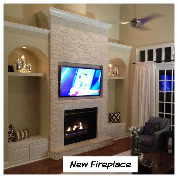 white stone fireplace love it