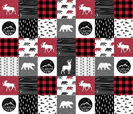 Woodland Baby Quilt Rustic Boy Blanket Red Black Gray