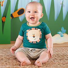 Baby Aspen Boys 2 Piece Blue Lion Applique T Shirt and Cargo Shorts