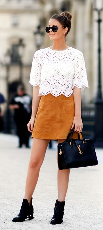 Camel Suede A-skirt Chic Style by Annette Haga: