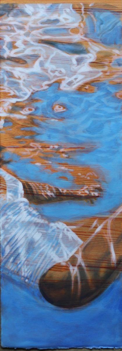 "Carol Bennett, ""Float"", 22 x 8, Acrylic, Oil on Paper | Eisenhauer Gallery of Edgartown, MA"