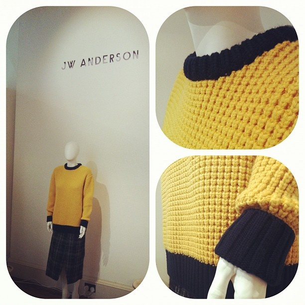 JW Anderson makes a chunky knitted oversized jumper look immensely cool. Love. #LFW #JWAnderson