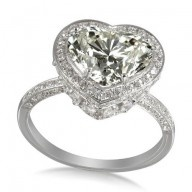 4.215 ct #Diamond & 18K White Gold Colossal Heart #Ring