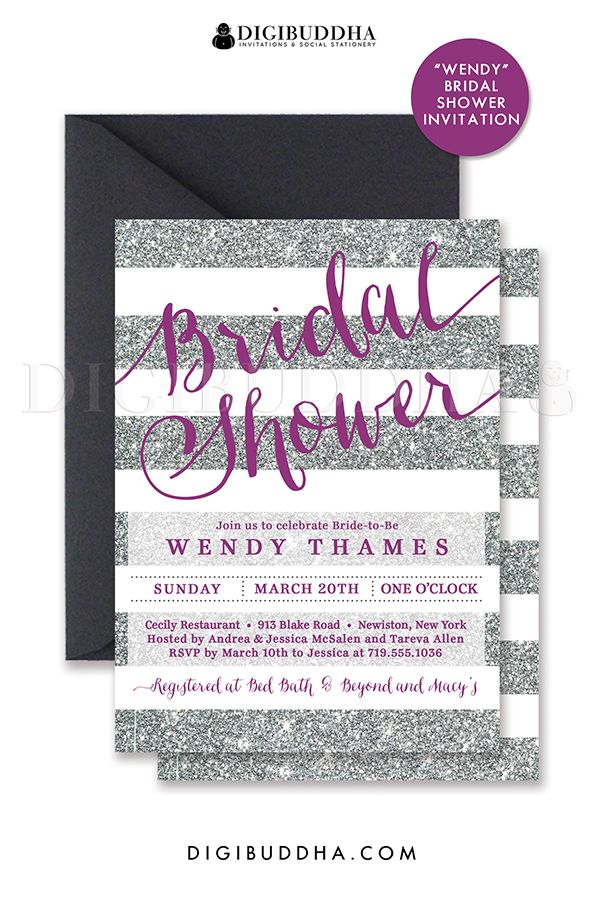 Silver glitter stripes bridal shower invitation with plum purple details. Choose from ready made printed invitations with envelopes or printable bridal shower invitations. Silver shimmer envelopes also available. digibuddha.com