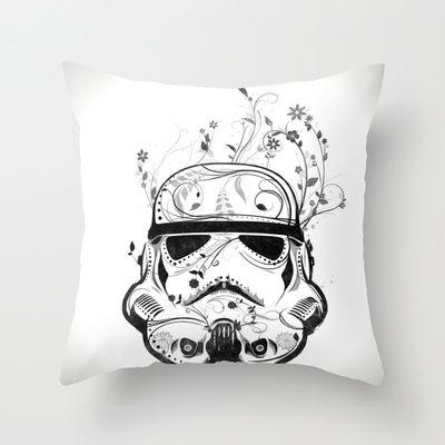Flower Trooper Pillow #starwars #stormtrooper #movie #helmet #flower #decorated #swirls #pillow #homedecor #cushion