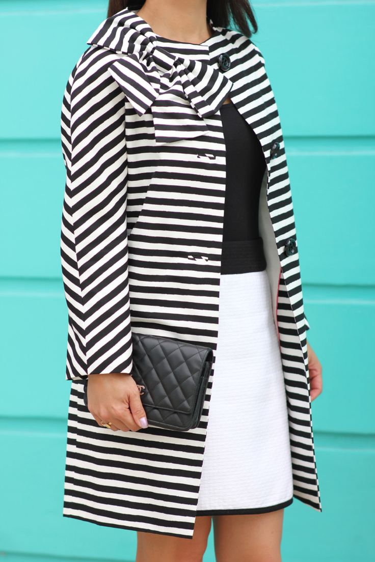 Kate Spade striped bow coat and Chanel