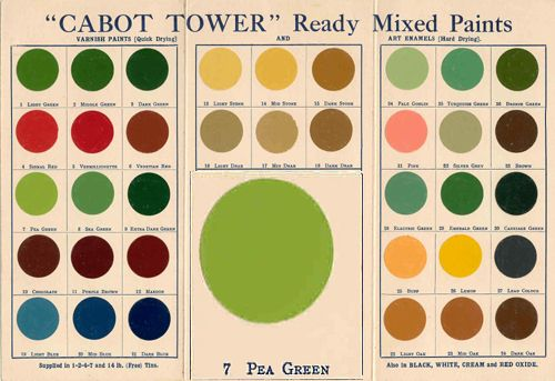 Cabot Tower + Pea Green A 1930s colour chart, which shows Pea Green in greater detail