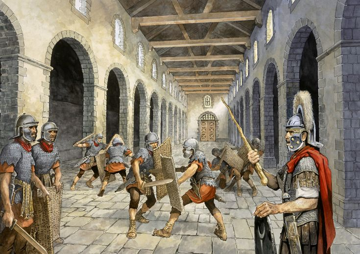 Birdoswald Fort, Hadrian's Wall - Roman auxiliary infantry practising combat in the Drill Hall