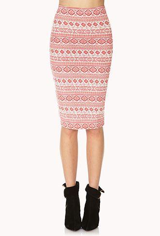 Bold Tribal Print Midi Skirt | FOREVER 21 - 2000066334