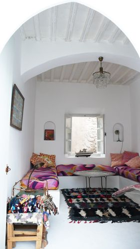 Moroccan boucherouite rug in a location house in Essaouira Morocco